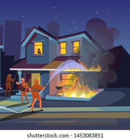 House on fire flat vector illustration. Firefighters try to extinguish burning house. Firemen putting out building. Fireman rescue people cartoon character. Fire truck, equipment. Flame accident