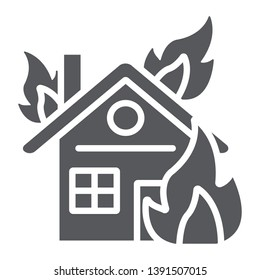 House on fire glyph icon, burn and accident, burning home sign, vector graphics, a solid pattern on a white background, eps 10.