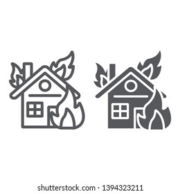 House on fire line and glyph icon, burn and accident, burning home sign, vector graphics, a linear pattern on a white background, eps 10.
