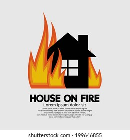 House On Fire Vector Illustration