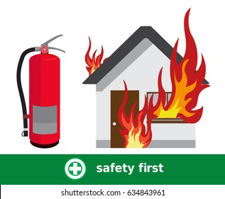 House On Fire,Fire with Fire Extinguisher Vector, safety first