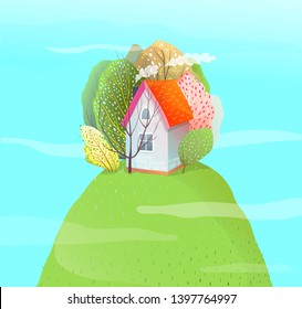 House on Top of Mountain Romantic Landscape. Watercolor style house on yhe hill summer season vacation hut. Vector cartoon.