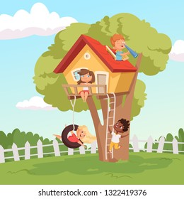 House on tree. Cute children playing in garden nature climbing vector kids background