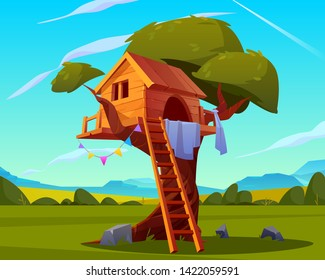 House on tree, empty children playground, creative handmade treehouse with wooden ladder for kids games in backyard garden on beautiful summer landscape background, camp. Cartoon vector illustration