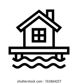 House on water flat icon. Flood hazard concept. Real estate property linear vector illustration. Isolated on white background.