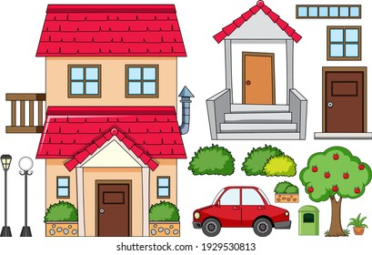 A house with outdoor decoration set isolated illustration