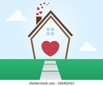 House outline abstract with Hearts