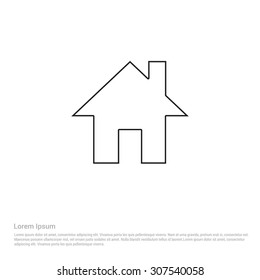 house Outline Icon, Vector Illustration, Flat pictogram icon