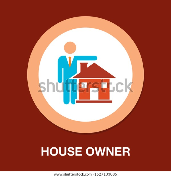 house owner icon, vector real estate concept - property sign symbol