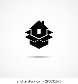 House in packing box icon template for moving company logo. Vector illustration.