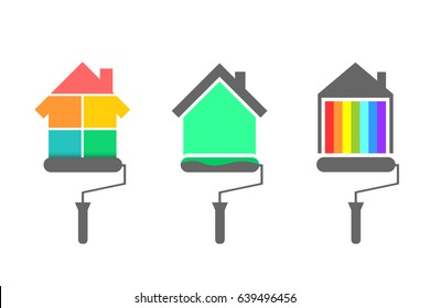 House painter concept. Set with color palette, paint brush and roller.
