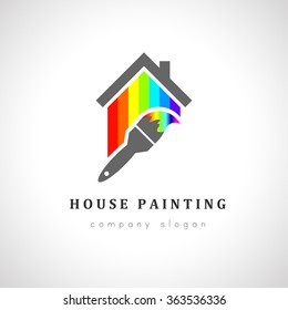 House painter logo design with paint brush. House made of color spectrum concept.