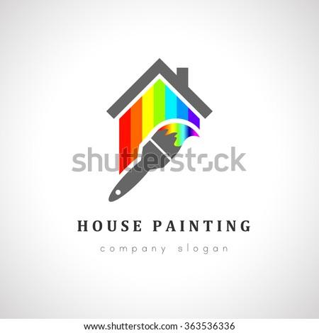 house painter logo design paint brush stock vector royalty free