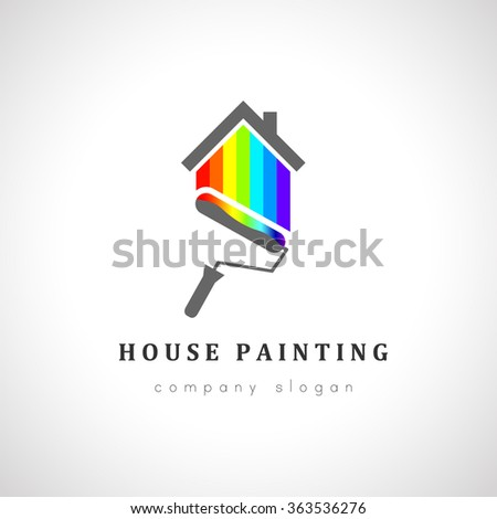 house painter logo design painting roller stock vector royalty free