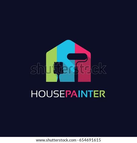 house painter logo template design stock vector royalty free