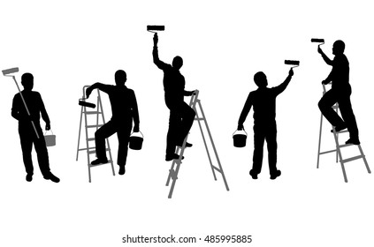 house painters silhouettes - vector