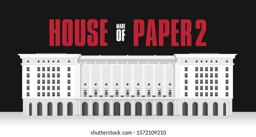 The House of Paper 2. Building made with strokes and lines. White architecture Design. Red typography in spanish. La Casa de Papel (Money Heist) Vector