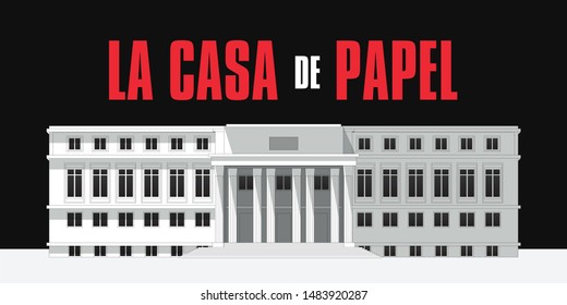 The House of Paper. Building made with strokes and lines. White architecture Design. Red typography in spanish. La Casa de Papel (Money Heist) Vector