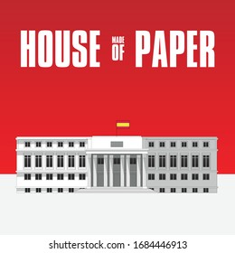House of Paper - Lined and stroke building with red background and Flag of Spain. Flat vector illustration