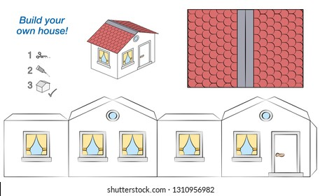 House paper model. Easy template - comic cottage with white walls and red roof. Cut out, fold and glue it. Isolated vector illustration on white background.
