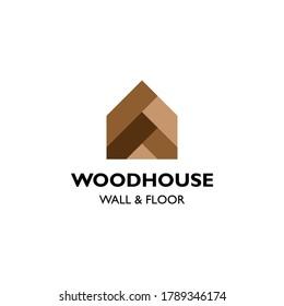 House parquet floor wall logo vector template