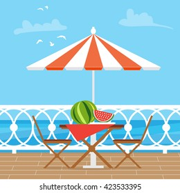 House Patio With Garden Chairs and Table with umbrella on the terrace balcony. View over the sea. Water landscape. Picnic with watermelon. Flat style vector illustration.