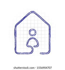 house with people icon. line style. Hand drawn sketched picture with scribble fill. Blue ink. Doodle on white background