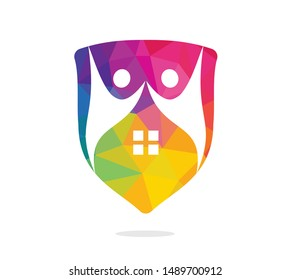 House and people logo design. House and joyful people vector logo template.