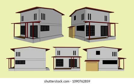 House Perspective Vector & Illustration, image 4
