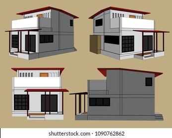 House Perspective Vector & Illustration, image 3