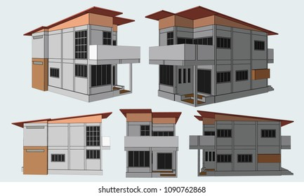 House Perspective Vector & Illustration, image 5