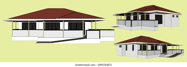House Perspective Vector & Illustration, image 9
