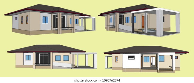 House Perspective Vector & Illustration, image 6