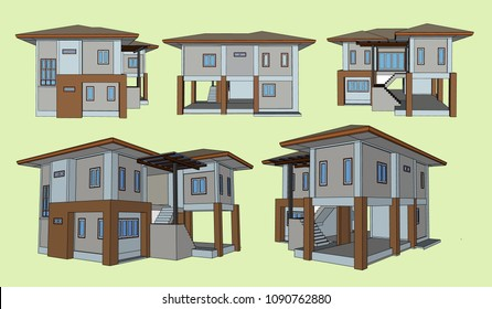 House Perspective Vector & Illustration, image 19