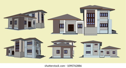 House Perspective Vector & Illustration, image 18