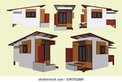 House Perspective Vector & Illustration, image 15