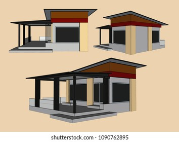 House Perspective Vector & Illustration, image 13