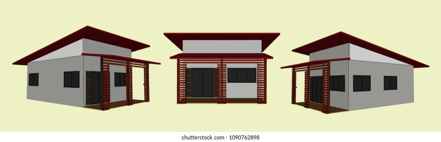 House Perspective Vector & Illustration, image 11
