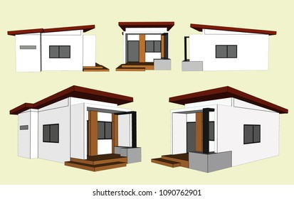 House Perspective Vector & Illustration, image 16