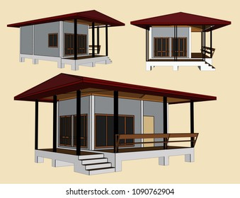 House Perspective Vector & Illustration, image 12
