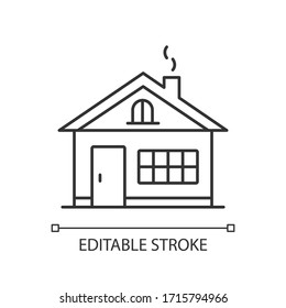 House pixel perfect linear icon. Residential home exterior. Real estate. Household property. Thin line customizable illustration. Contour symbol. Vector isolated outline drawing. Editable stroke
