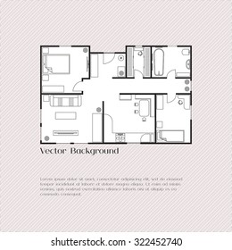 House plan background for card, banner, presentation template, real estate, social advertising, notebook cover, poster, postcard. Building with furniture. Vector illustration.
