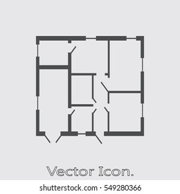 House plan Icon isolated sign symbol and flat style for app, web and digital design. Vector illustration.