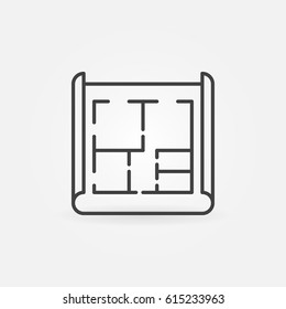 House plan icon - vector architecture concept sign or logo element