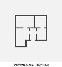 House plan simple flat icon. Vector illustration on white background.