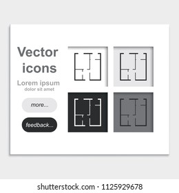 House plan simple flat placed on web page template vector icon.