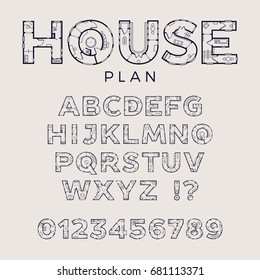 House plan typeface. Detailed vector floor plan display font with letters and digits decorated as house or floor blueprints with doors, walls, furniture and other elements. Full alphabet and digits
