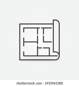House Plan vector outline concept minimal icon or design element