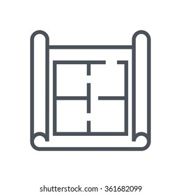 House plan, wire frame icon suitable for info graphics, websites and print media. Vector, flat icon, clip art.