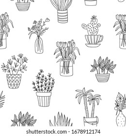 House plant seamless vector pattern. Cute outline flower sketch. Linear indoor gaden.